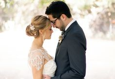 Bride and Groom Put Foreheads Together