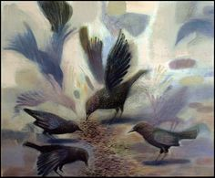 Starlings Feeding  2013 Oil on canvas by Tom Wood