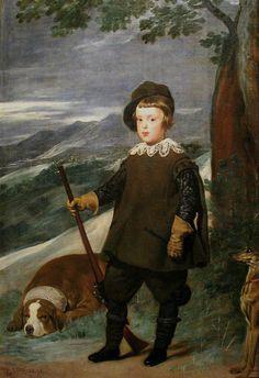 Principe Baltasar Carlos ,cazador Velazquez,con un pachón navarro y un galgo