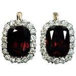 Preowned Antique Garnet Diamond Gold Cluster Earrings