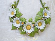 Leather flower Jewelry set Set 2 piece Daisies earrings Flower leather necklace…