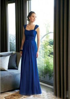 Decent Royal Blue Wide Straps Chiffon Floor Length Bridesmaid Dress for Sale