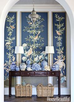 This home in Naples Florida was a ground-up build where Summer Thornton was brought in to oversee interior architecture and interior design choosing finishes as well as furnishings Framed Wallpaper, Chinoiserie Wallpaper, Wallpaper Panels, Wallpaper Ideas, Diy Inspiration, Interior Inspiration, Florida Home, Naples Florida, Florida Vacation