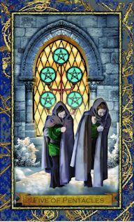 five of pentacles from the Wizard Tarot True Tarot, Pentacle, Oracle Cards, Sacred Art, Tarot Decks, Archetypes, Tarot Cards, Wizards, Artsy