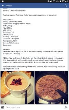 South African Dishes, South African Recipes, Slow Cooker Recipes, Soup Recipes, Cooking Recipes, Kos, Biltong, Feel Good Food, Mushroom Soup