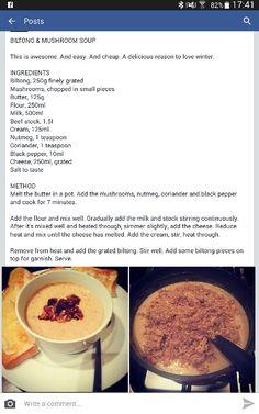 Biltong & mushroom soup Soup Recipes, Cooking Recipes, Kos, Biltong, Feel Good Food, South African Recipes, Mushroom Soup, Sweet And Salty, Winter Food