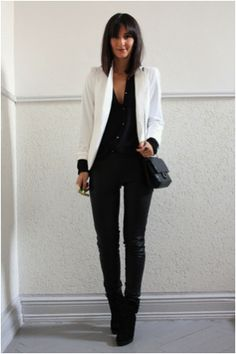 Camo green pants black tank white blazer, black boots, accessories on point with up do or out of the face braid.