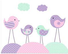 Bird Nursery Lavender Purple Mint Pink Girl's Nursery