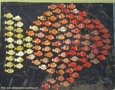 "Cute back to school bulletin  board-- have all the kids make an individual fish and then post as a giant ""school of fish."" :)"