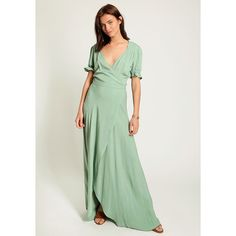 Ruche Grand Entrance Maxi Dress (83 CAD) ❤ liked on Polyvore featuring dresses, green, wrap dresses, short sleeve dress, maxi dresses, short-sleeve maxi dresses and wrap maxi dress