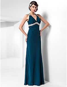 TS Couture® Formal Evening / Military Ball Dress - Beautiful Back Plus Size / Petite Sheath / Column Halter Floor-length Chiffon withAppliques / – EUR € 328.30