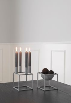 Minimalistic Kubus candleholder from By Lassen in a grey color. Limited edition.