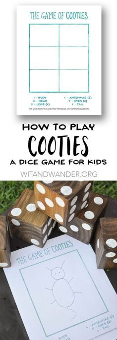 DIY Backyard Games and Free Printable Cooties Game - Wit & Wander Learn how to make and play this fun outdoor backyard game that is perfect for kids and their families. Your game nights will never be the same with these giant yard dice and a game for pre Outdoor Yard Games, Diy Yard Games, Free Games For Kids, Kids Party Games, Children Games, Young Children, Dice Games, Activity Games, Yard Dice