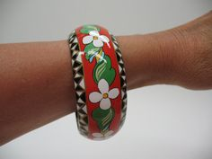 Floral Red and White Bangle Hand Painted Wearable by MicheleACaron, $225.00