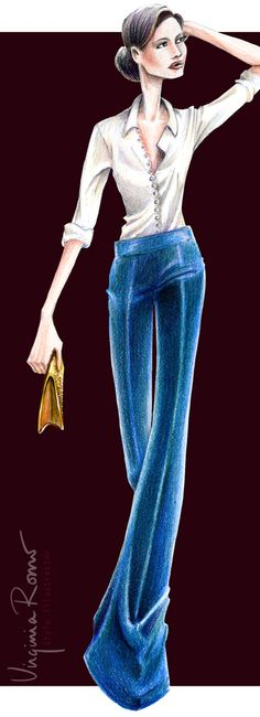 Fashion illustration: Sonia Rykiel velvet pants - by Virginia Romo