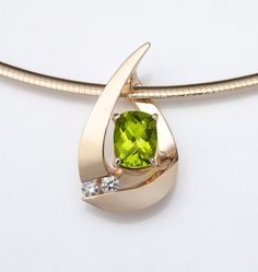 14k yellow gold, peridot and diamond pendant designed by David Worcester for VerbenaPlaceJewelry.Etsy.com
