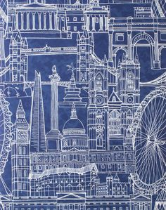Overview London's most iconic buildings hand drawn and digitally collaged on a mottled night blue background, designed to create an instantly recognizable and stunning landscape. World famous building