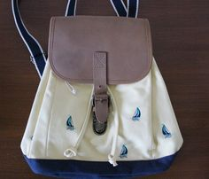 LL Bean mini leather backpack nautical boat from the 1990s by bubblemars