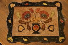 Wool Applique table rug. www.rebekahlsmith.com