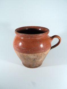 Two-Tone Glazed Pottery Jar w/ Handle Fawn by LaBelleEpoqueDeco