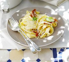Creamy linguine with ham, lemon & basil - maybe leave out the lemon and scale down for 2 and a bit people.