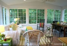 wide shot of sunroom in the summer