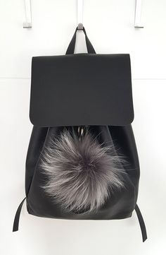 Large Gray Fluffy real Fox Fur Pom Pom, very easy to attach onto purses, bags or… Pom Pom Purse, Fur Pom Pom, Pom Poms, Grey Purses, Fur Bag, All Black Everything, Winter Accessories, Fox Fur, Leather Backpack