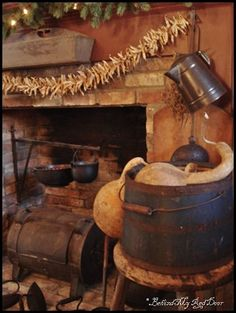 A Primitive Kitchen at the home of Judy Coffey, owner of Country Plus via Behind My Red Door Blog