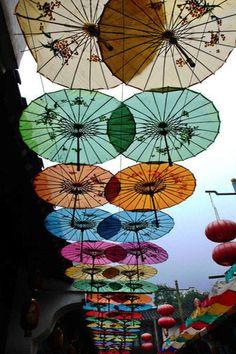 Rainbow of parasols