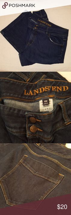 Lands End Jeans In perfect condition! Lands End Dark Denim Jeans. Size 18 with Stretch. Lands' End Jeans Boot Cut