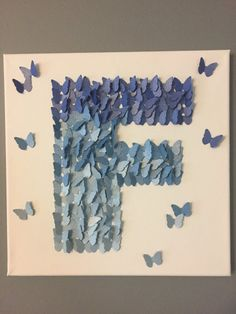 3D Butterfly Wall Art , Shiny Blue Ombre, Alphabet Letter F, Nursery Art  Bring your home to life with this 3D canvas art. As this whimsical butterfly art floats off the page, it will help make your house feel more and more like home. Colors and patterns are customizable to match any décor. The canvas art pictured here is 12x12, but can be made to fit into your vision! Just message us for pricing.  All of our products are handcrafted with care and are made-to-order so that your space feels…