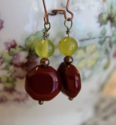 Crimson and Yellow Glass Bead Earrings Red Bead by nineteensprouts, $15.00