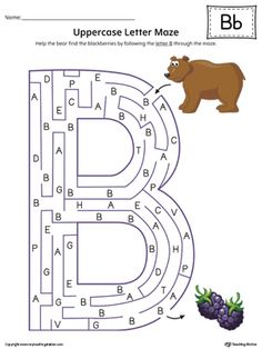 **FREE** Uppercase Letter B Maze Worksheet (Color) Worksheet.If you are looking for creative ways to help your preschooler or kindergartener to practice identifying the letters of the alphabet, the Uppercase Letter Maze in Color is the perfect activity. Letter B Activities, Letter B Worksheets, Maze Worksheet, School Worksheets, Kindergarten Worksheets, Reading Worksheets, Printable Worksheets, Teaching Letters, Preschool Letters