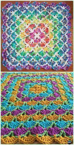 Crochet Beautiful Shells Blanket Free Pattern - Crochet Rainbow Blanket Free Patterns
