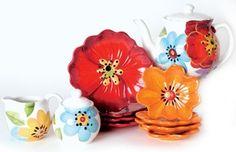 Laurie Gates Liza tea pot and flower plates Flower Plates, Fine China, Gates, Dinnerware Designs, Tablescapes, Tea Time, Tea Pots, Ceramics, Dishes