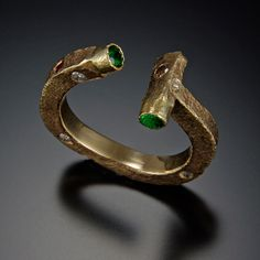 Richard Elkin - Gold Ring with Green, Red, and Clear Stones
