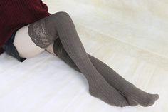 35% off Khaki Thigh High Socks Lace Trim Long Lace by Starsocks