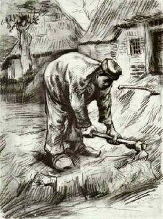 Vincent van Gogh: Peasant, Chopping Nuenen: second half August, 1885 (Otterlo, Kröller-Müller Museum)