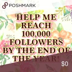 🎉🎉100k GOAL🎉🎉Be sure to like, follow, & share Calling all posh friends!!! I have set a goal to reach 10k Followers by the end of the year!! For each person that follows me or shares this post will be entered into a drawing to win a FREE item of their choice from my closet!! Help me out my fellow posters! Follow me and I will follow back! 😘 Other