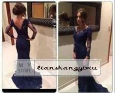 Comes in wine color  Free shipping, $117.28/Piece:buy wholesale 2014 Sexy New Sheer Long Sleeves Navy Blue Lace Mermaid Evening Dresses Tulle Lace Applique Formal Party Women Court Train Prom Gowns from DHgate.com,get worldwide delivery and buyer protection service.