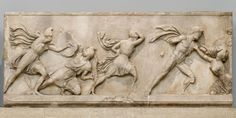 Amazon Frieze BM GR 1865.7-23.1. Detail of the Amazon Frieze from the Mausoleum at Halicarnassus: combats between Greeks and Amazons. Date circa 350 BC