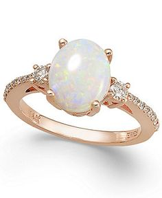 Aurora by EFFY Opal (1-3/8 ct. t.w.) and Diamond (1/4 ct. t.w.) Oval Ring in 14k Rose Gold - Rings - Jewelry & Watches - Macy's