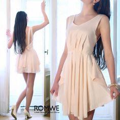 Leisure Time At Home Wearing Backless Nude Shift Dress