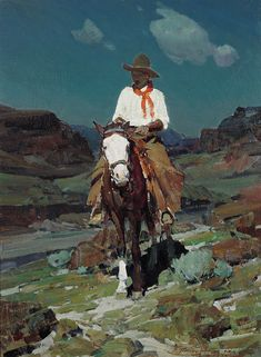 "FRANK TENNEY JOHNSON Night in Old Wyoming Oil on Canvas 17.5"" x 13.5"""