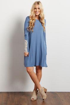 Blue Crochet Accent Long Sleeve Dress