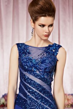 sequined royal blue party dress