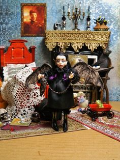 Reserved OOAK Dollhouse Miniature 5.5 inch Poseable Doll, Willow Hemlock and her pet bat Daisy