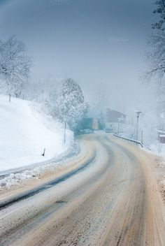 Check out Winter road by ChristianThür Photography on Creative Market Winter Road, Transportation, Country Roads, Christian, Snow, Marketing, Creative, Pictures, Photography