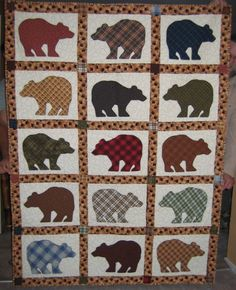 bear quilt- use different bear silhouettes and alternate with log cabin squares.  Add in a couple of bear paws in the corners maybe?