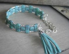 Turquoise Glass Tile and Silver Cuff Bracelet, Turquoise Tassel Bracelet, Memory Wire Cuff Bracelet